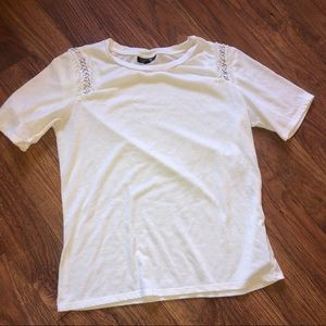 Topshop white t with silver rings on sleeve